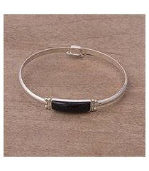 obsidian pendant bracelet, 'andean rectangle' (peru)