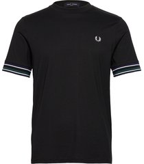 striped cuff t-shirt t-shirts short-sleeved svart fred perry