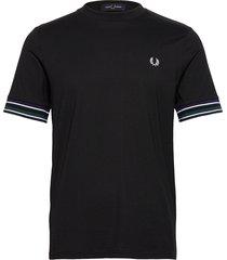 striped cuff t-shirt t-shirts short-sleeved svart fred perry