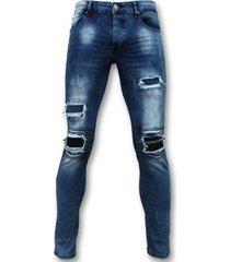 skinny jeans true rise biker jeans met rits - slim fit - zs1061-