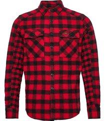 buffalo flannel shirt skjorta casual röd superdry