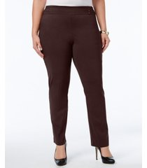 jm collection plus & petite plus size tummy control slim-leg pants, created for macy's