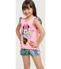 pijama infantil neon estampa tropical minnie manga curta disney
