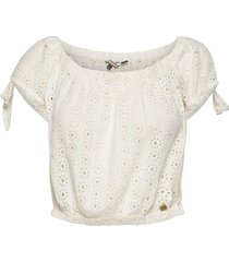 amiee bardot top blouses short-sleeved vit superdry