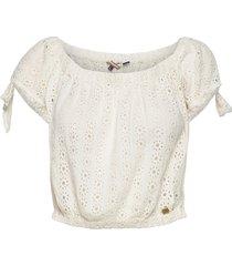 amiee bardot top blouses short-sleeved vit superdry