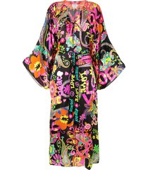camilla love and peace print kaftan dress - black