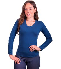 blusa dama cuello v manga larga en jersey licra azul petroleo s bocared minerva 272100028