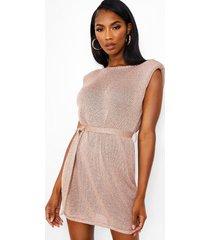 metallic gebreide jurk met schouderpads, blush