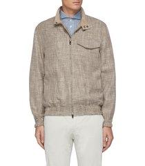 rustic linen effect wool cotton blend zip-up jacket
