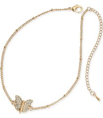 thalia sodi gold-tone pave butterfly ankle bracelet, created for macy's
