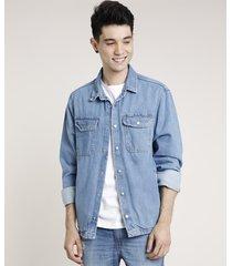 camisa jeans masculina comfort com bolsos manga longa azul médio