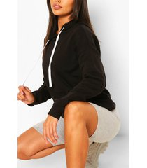 petite basic zwarte hoodie, zwart