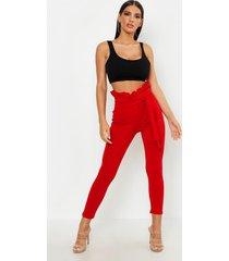 geplooide skinny fit broek met ceintuur, rood