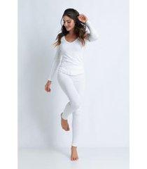 conjunto de pijama acuo longo de ribana de algodão feminino