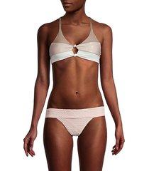 colorblock knot bikini top