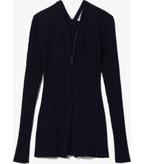 proenza schouler white label rib knit zip cardigan black m