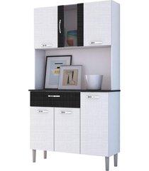 kit cozinha compacta armã¡rio pan 06 portas branco com linho branco e cp linho preto - kit's paranã¡ - unico - dafiti