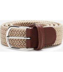 anderson's men's polished silver buckle woven belt - beige - w36/xl