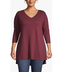 lane bryant women's lane essentials 3/4-sleeve high-low tunic 26/28 windsor wine