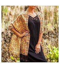 batik silk shawl, 'truntum forest in ginger' (indonesia)