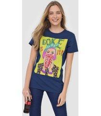 camiseta coca-cola jeans aplicações azul-marinho