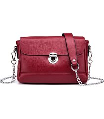 donna vera pelle crossbody borsa vintage high-end serratura catena spalla borsa