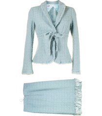 moschino pre-owned tweed skirt suit - blue