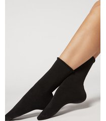 calzedonia long thermal cotton socks woman black size tu
