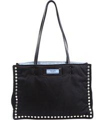 prada etiquette medium black blue studded nylon tote bag blue/black sz: m