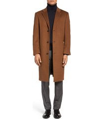 men's big & tall hart schaffner marx sheffield classic fit wool & cashmere overcoat, size 50 r - brown