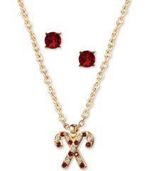 charter club gold-tone crystal candy cane pendant necklace & stud earrings set, created for macy's