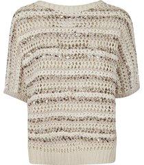brunello cucinelli stripe pattern bead embellished woven sweatshirt