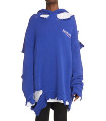 men's balenciaga destroyed knit hoodie, size small - blue