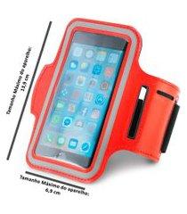 braçadeira esportiva para smartphone 5  vermelho ,