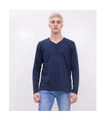 camiseta básica gola v | blue steel | azul escuro | p