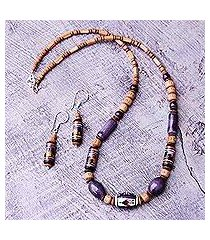 ceramic beaded jewelry set, 'inca tulip' (peru)