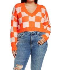 plus size women's bp. checker crop sweater, size 1x - orange