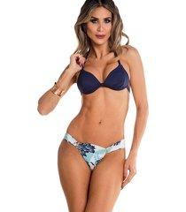 biquini com bojo e fivela na calcinha maré brasil azul marinho multicolorido