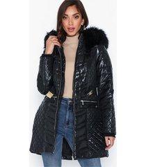 river island longline high shine belted coat faux fur