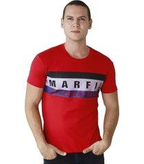 camiseta de hombre marfil slim fit algodon band rojo