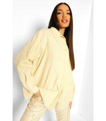 tall oversized corduroy blouse met onbewerkte zoom, sand
