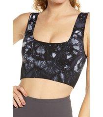 women's free people fp movement good karma sports bra, size medium/large - black