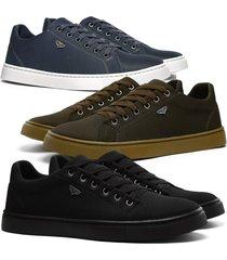 kit 3 pares de sapatãªnis skateboard sapatofran casual azul, preto e cafã© - azul/cafã©/preto - masculino - lona - dafiti