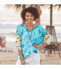 sundance catalog women's summer skies sweater in tie/dye medium