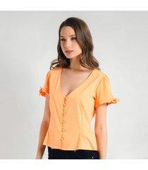 blusa para mujer en bengalina naranja color naranja  talla m