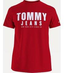 tommy hilfiger men's organic cotton tommy t-shirt deep crimson - xs