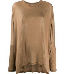 mm6 maison margiela semi-sheer long sleeve t-shirt - brown