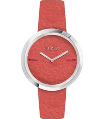 furla women's my piper orange dial calfskin leather watch