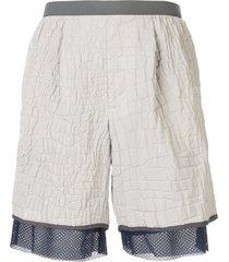 kolor croc-embossed shell shorts - white