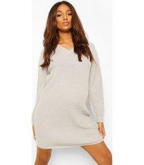 zwangerschaps gebreide trui jurk met v-hals, light grey